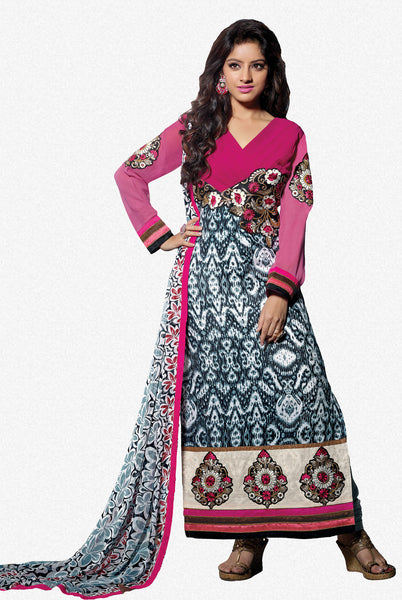 Designer Embroidered Straight Cut Suits:atisundar charming Pink And Grey Straight Cut Designer Wear - 6453 - click to zoom
