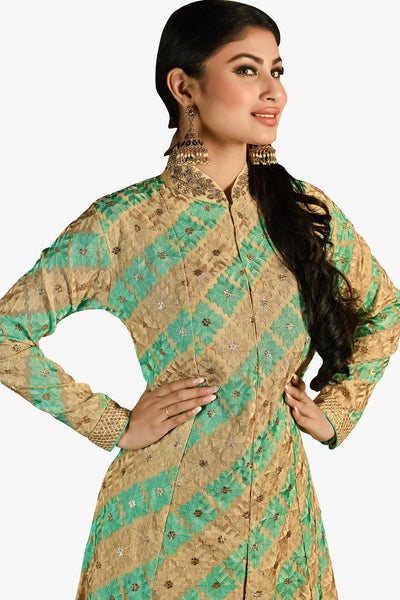 Designer Bollywood Anarkali Featuring Mouni Roy: atisundar exquisite Cream And Green Designer Embroidered Bollywood Anarkali - 11167 - atisundar - 2 - click to zoom