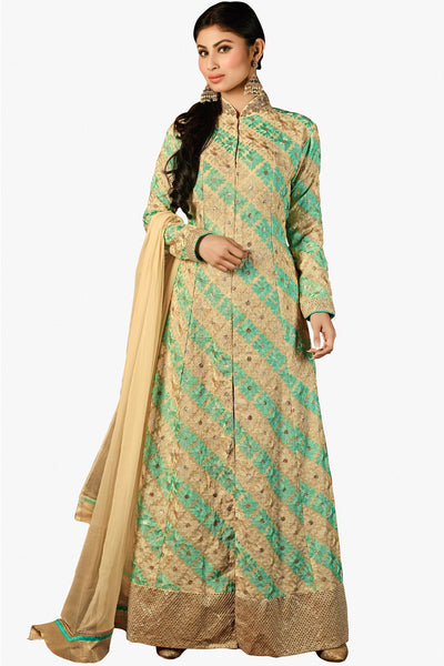 Designer Bollywood Anarkali Featuring Mouni Roy: atisundar exquisite Cream And Green Designer Embroidered Bollywood Anarkali - 11167 - atisundar - 1 - click to zoom