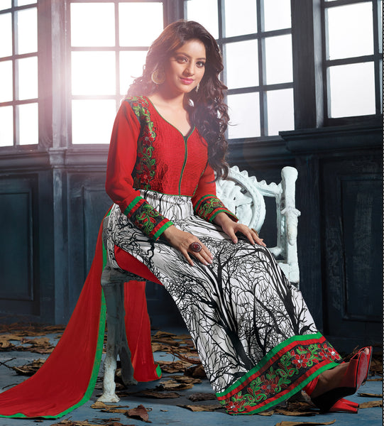 Designer Embroidered Straight Cut Suits:atisundar elegant Red And White Straight Cut Designer Wear - 6456 - atisundar - 4 - click to zoom