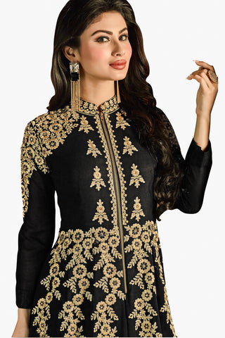 Designer Bollywood Anarkali Featuring Mouni Roy: atisundar fair Black And Cream Designer Embroidered Bollywood Anarkali - 11168 - atisundar - 2 - click to zoom