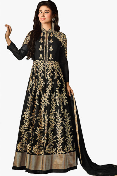 Designer Bollywood Anarkali Featuring Mouni Roy: atisundar fair Black And Cream Designer Embroidered Bollywood Anarkali - 11168 - atisundar - 1 - click to zoom
