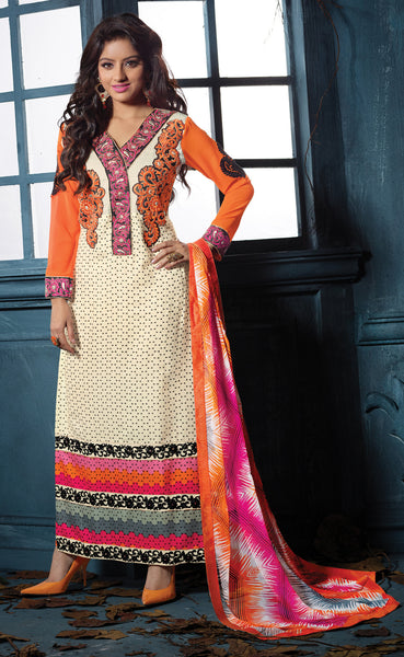 Designer Embroidered Straight Cut Suits:atisundar marvelous Orange And Off White Straight Cut Designer Wear - 6457 - atisundar - 4 - click to zoom