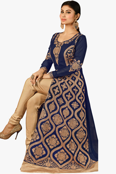 Designer Bollywood Anarkali Featuring Mouni Roy: atisundar graceful Navy Blue And Cream Designer Embroidered Bollywood Anarkali - 11170 - click to zoom