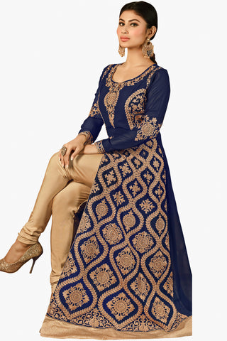 Designer Bollywood Anarkali Featuring Mouni Roy: atisundar graceful Navy Blue And Cream Designer Embroidered Bollywood Anarkali - 11170 - atisundar - 2 - click to zoom