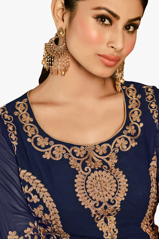 Designer Bollywood Anarkali Featuring Mouni Roy: atisundar graceful Navy Blue And Cream Designer Embroidered Bollywood Anarkali - 11170 - atisundar - 3 - click to zoom