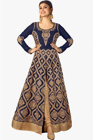 Designer Bollywood Anarkali Featuring Mouni Roy: atisundar graceful Navy Blue And Cream Designer Embroidered Bollywood Anarkali - 11170 - atisundar - 1 - click to zoom