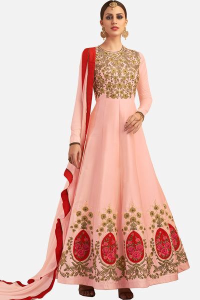 Designer Embroidered Party wear anarkali:atisundar admirable Pink Designer Embroidered Festive Anarkali - 14961 - click to zoom