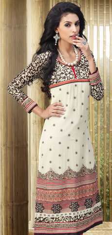 Designer Embroidered and Digital Printed Straight Cut Suits In Faux Georgette:atisundar elegant Off White Straight Cut with Embroidery and Digital Print - 6410 - atisundar - 4 - click to zoom