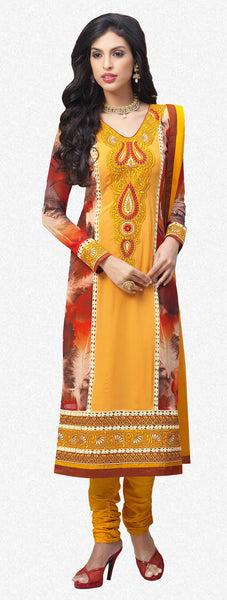 Designer Embroidered and Digital Printed Straight Cut Suits In Faux Georgette:atisundar lovely Yellow And Multi Straight Cut with Embroidery and Digital Print - 6416 - atisundar - 2 - click to zoom