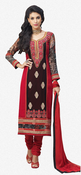 Designer Embroidered and Digital Printed Straight Cut Suits In Faux Georgette:atisundar Great Red And Black Straight Cut with Embroidery and Digital Print - 6418 - atisundar - 2 - click to zoom