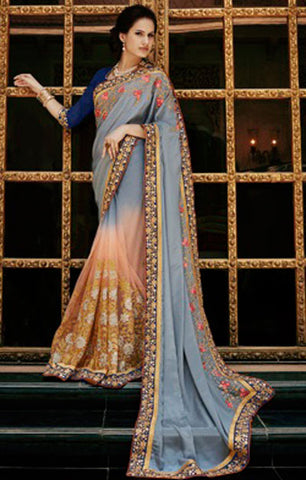 Designer Embroidered Saree:atisundar Great Designer Embroidery Saree in Grey  - 8606 - atisundar - 1 - click to zoom