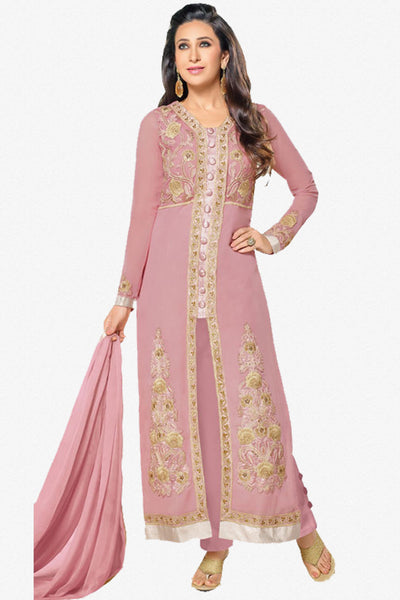 The Karishma Kapoor Collection:atisundar Lovely Pink Designer Embroidered Straight Cut Suits In Faux Georgette - 9840 - click to zoom