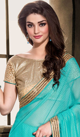 Designer Embroiderd Saree:atisundar splendid Designer Embroidered Party Wear Sarees in Sky Blue  - 9027 - atisundar - 4