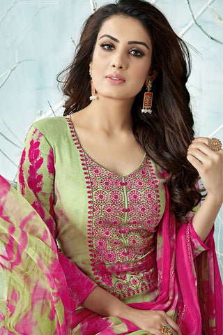 Printed Cotton Satin suit with Neck Embroidery:atisundar graceful Green Designer Embroidered Summer Special Straight Cut Suit - 14659