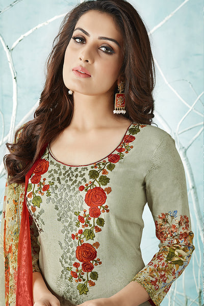 Printed Cotton Satin suit with Neck Embroidery:atisundar Charismatic Green Designer Embroidered Summer Special Straight Cut Suit - 14663 - click to zoom