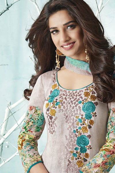 Printed Cotton Satin suit with Neck Embroidery:atisundar graceful Multi Designer Embroidered Summer Special Straight Cut Suit - 14666 - click to zoom