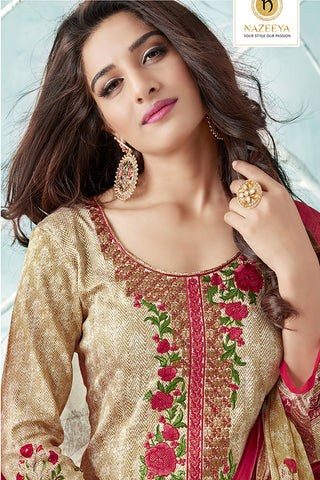 Printed Cotton Satin suit with Neck Embroidery:atisundar elegant Beige Designer Embroidered Summer Special Straight Cut Suit - 14667