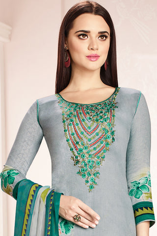 Embroidered glaze Satin with digital print:atisundar classy Grey print with embroidered - 14989