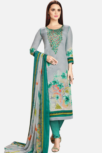Embroidered glaze Satin with digital print:atisundar classy Grey print with embroidered - 14989 - click to zoom
