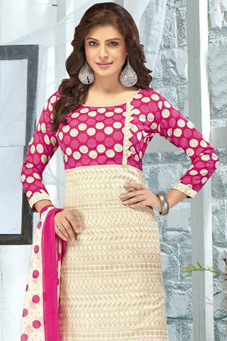 Designer Straight Cut:atisundar enticing Cream And Pink Designer Party Wear Straight Cut - 13185