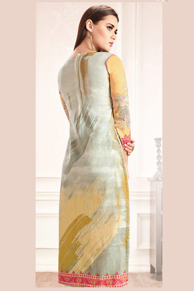 Embroidered glaze Satin with digital print:atisundar Charismatic Multi print with embroidered - 14990 - click to zoom
