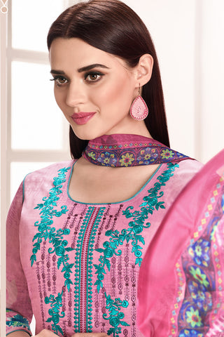 Embroidered glaze Satin with digital print:atisundar appealing Pink print with embroidered - 14991