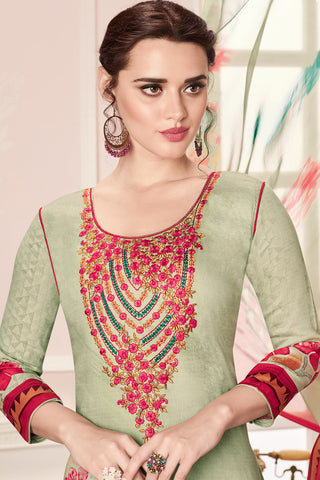 Embroidered glaze Satin with digital print:atisundar ravishing Green print with embroidered - 14992