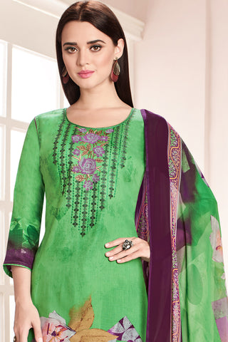 Embroidered glaze Satin with digital print:atisundar refined Green print with embroidered - 14993
