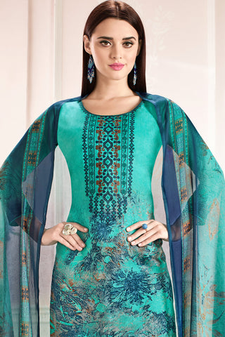 Embroidered glaze Satin with digital print:atisundar graceful Green print with embroidered - 14994
