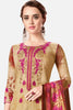 Embroidered glaze Satin with digital print:atisundar exquisite Beige print with embroidered - 14995 - click to zoom
