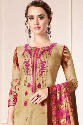 Embroidered glaze Satin with digital print:atisundar exquisite Beige print with embroidered - 14995