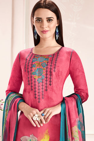 Embroidered glaze Satin with digital print:atisundar Awesome Pink print with embroidered - 14996
