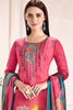 Embroidered glaze Satin with digital print:atisundar Awesome Pink print with embroidered - 14996 - click to zoom