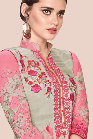 Embroidered glaze Satin with digital print:atisundar graceful Multi print with embroidered - 14997