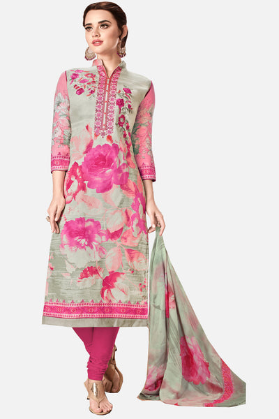 Embroidered glaze Satin with digital print:atisundar graceful Multi print with embroidered - 14997 - click to zoom