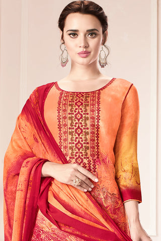Embroidered glaze Satin with digital print:atisundar admirable Multi print with embroidered - 14998