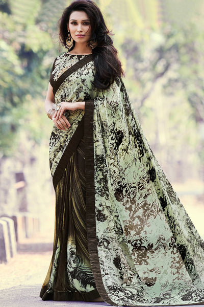 Designer Party wear Saree:atisundar delicate Designer Printed Saree in Faux Georgette with Border in Cream And Brown  - 10756 - atisundar - 3 - click to zoom