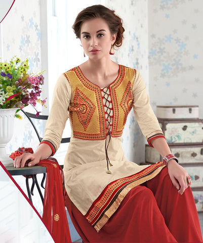 Designer Embroidered Straight Cut Suits:atisundar Beautiful Cream Designer Straight Cut Embroidered Suits - 9530 - atisundar - 3