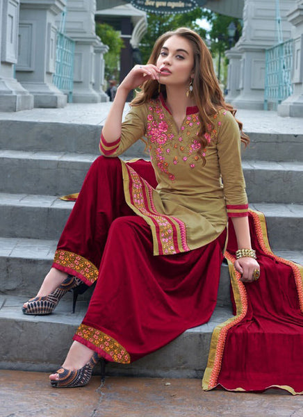 Designer Embroidered Straight Cut Suits:atisundar comely Beige Designer Straight Cut Embroidered Suits - 9533 - atisundar - 3 - click to zoom