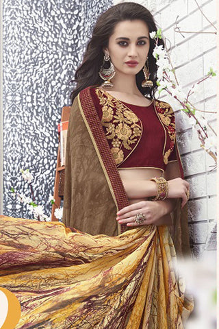 Designer Saree:atisundar Beautiful Designer Faux Georgette Saree in Brown  - 12574