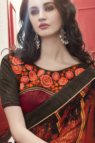 Designer Saree:atisundar Superb Designer Faux Georgette Saree in Brown And Black  - 12576