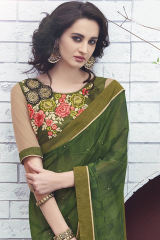 Designer Saree:atisundar pretty Designer Faux Georgette Saree in Green And White  - 12577