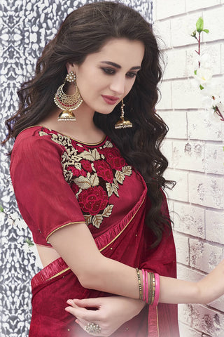 Designer Saree:atisundar wonderful Designer Faux Georgette Saree in Red And Pink  - 12579