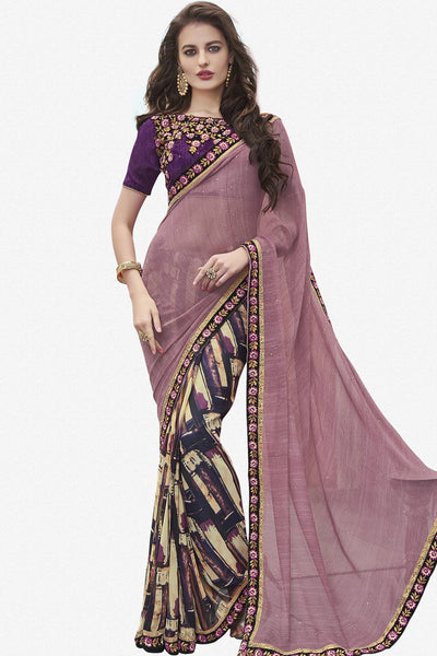 Designer Saree:atisundar dazzling Designer Faux Georgette Saree in Purple And Cream  - 12580 - click to zoom