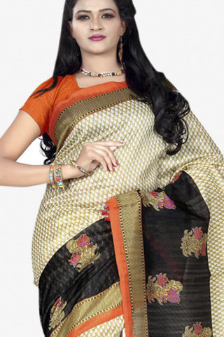 Designer Bhagalpuri Saree:atisundar dazzling Designer Printed Saree in Faux Bhagalpuri Silk in Grey And Pink  - 11096 - atisundar - 2