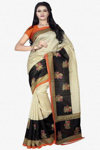 Designer Bhagalpuri Saree:atisundar dazzling Designer Printed Saree in Faux Bhagalpuri Silk in Grey And Pink  - 11096 - atisundar - 1 - click to zoom