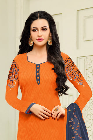 Designer Straight Cut:atisundar bewitching Orange Designer Embroidered Suit - 14516
