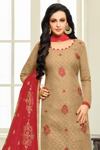 Designer Straight Cut:atisundar Awesome Brown Designer Embroidered Suit - 14517