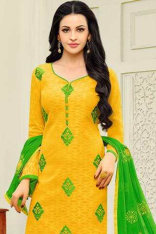 Designer Straight Cut:atisundar Smart Yellow Designer Embroidered Suit - 14518